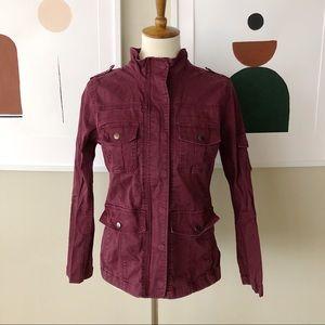 Kensie Jeans Deep Burgundy Utility Jacket Size M